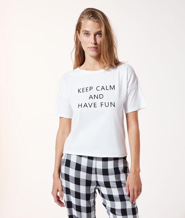 """Top manches courtes """"Keep calm and have fun"""";${refinementColor}"""