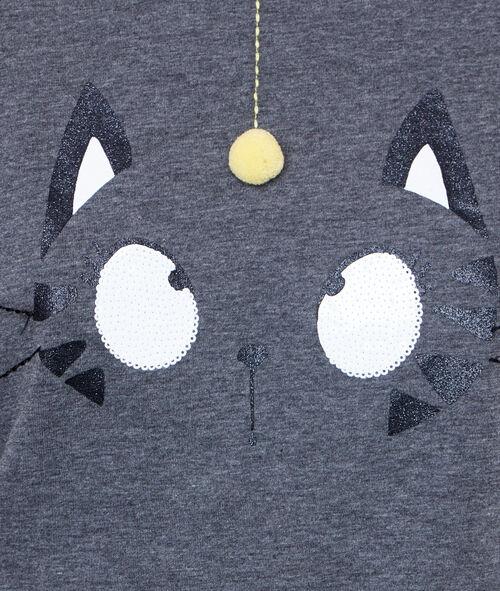Camiseta estampado gato con pompón