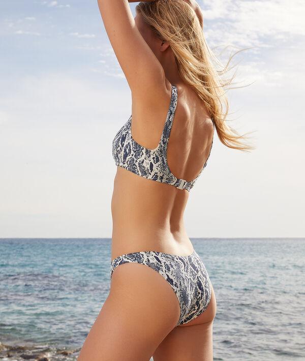 Top bikini sin aros, estampado serpiente;${refinementColor}
