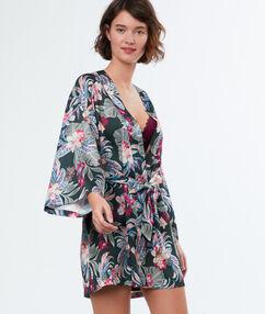Kimono estampado tropical caqui.