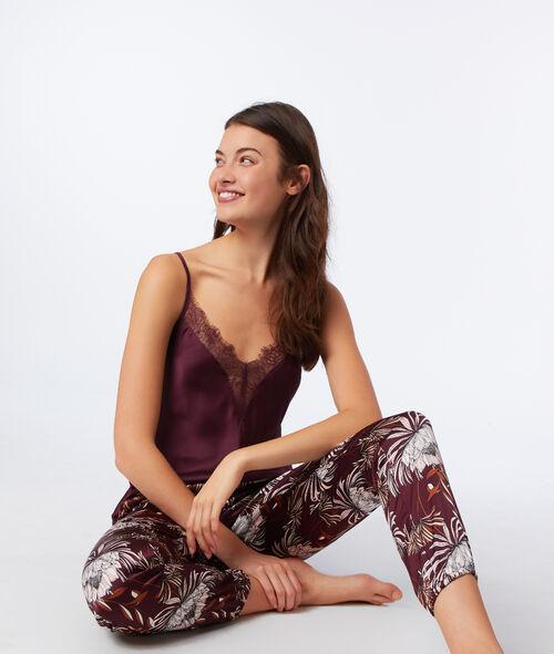 Pantalón largo de satén estampado floral