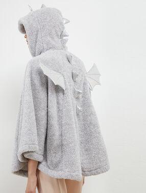 Poncho dragón tejido peluche c.gris.