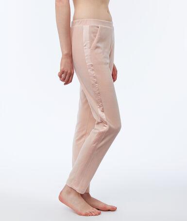 Pantalón terciopelo franja satinada rosa.