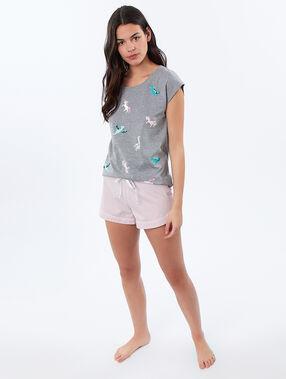Camiseta estampado dinosaurios y unicornios c.gris.