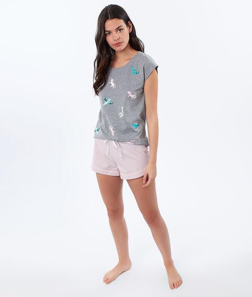 Camiseta estampado dinosaurios y unicornios