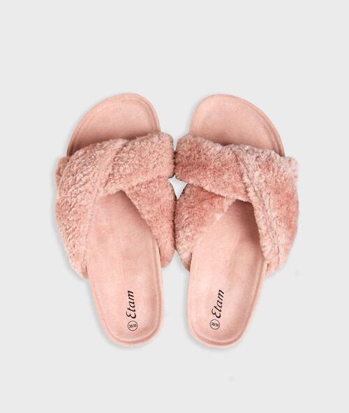 Zapatillas abiertas tejido peluche