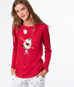Camiseta manga larga estampada rojo.
