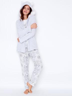 Pijama 3 piezas. chaqueta tejido peluche con orejas 3d gris claro.