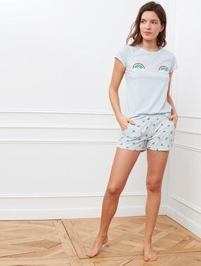 Camiseta estampado arcoíris azul claro.