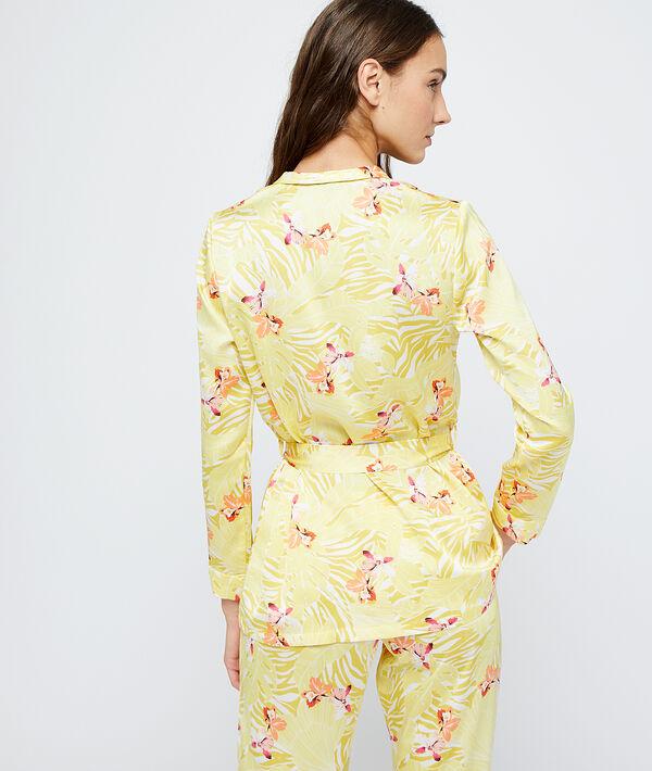 Camisa pijama de satén estampada;${refinementColor}