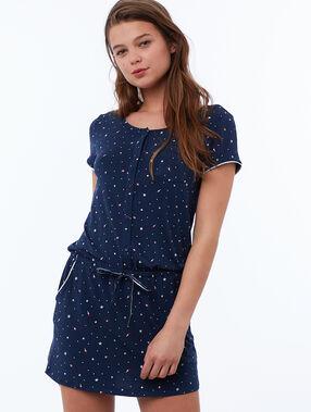 Camisón manga corta estampado estrellas azul marino.
