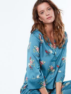 Camisa pijama estampado floral azul.