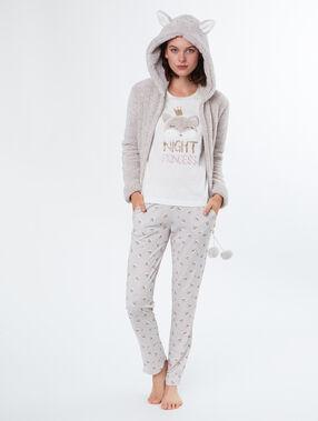 Pijama 3 piezas estampado c.beige.