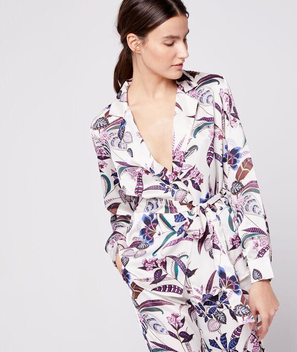 Camisa pijama de satén con cinturón;${refinementColor}