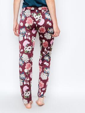 Pantalón estampado floral burdeos.