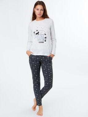 Pijama 3 piezas estampado c.gris.