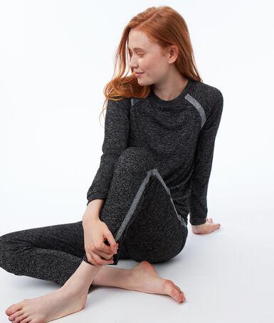 Pantalón jaspeado franja contrastada c.gris.