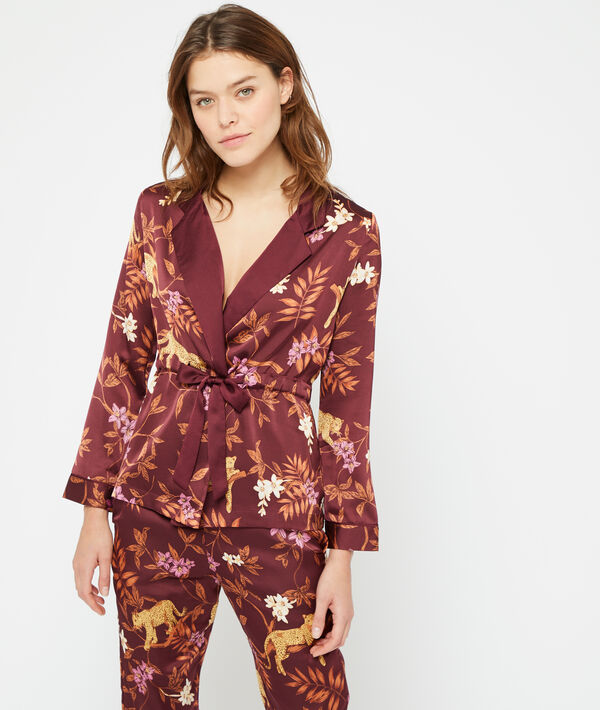 Camisa pijama estampado leopardo;${refinementColor}