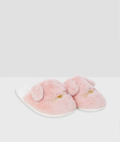 Zapatillas tejido peluche conejos rosa.