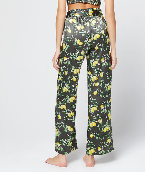 Pantalón largo de satén estampado de limones
