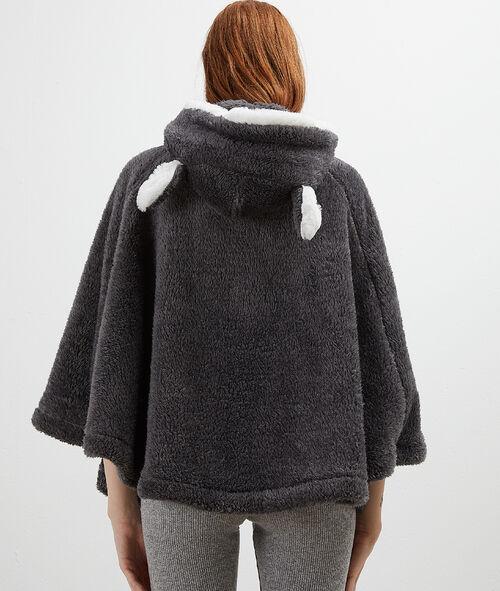 Poncho con capucha tejido peluche