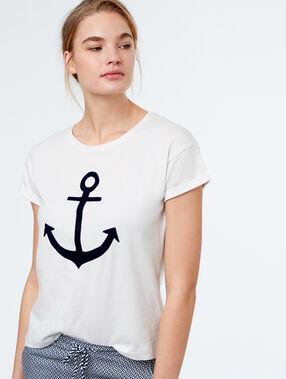 Camiseta estampado áncora blanco.