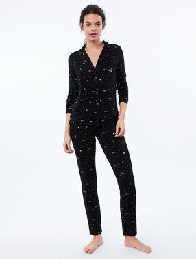 Chemise de pyjama à motifs noir.