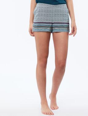 Pantalón corto satén estampado azul.