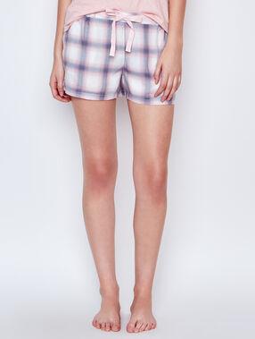 Pantalón corto estampado a cuadros crudo.