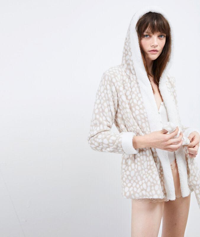 Chaqueta tejido peluche con capucha c.beige.