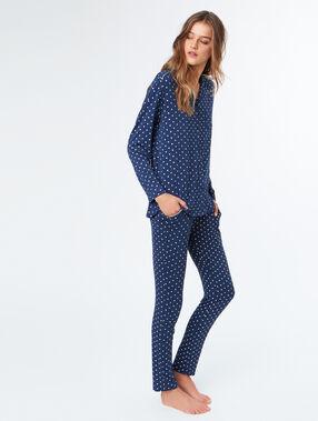Pantalón estampado a lunares azul.