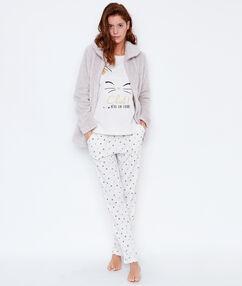 Pijama 3 piezas. chaqueta tejido peluche c. beige.