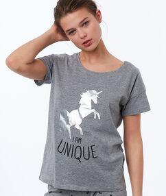 Camiseta dibujo unicornio c.gris.