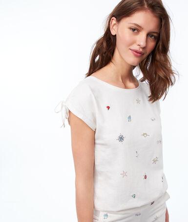 Camiseta estampado motivos marinos c.beige.