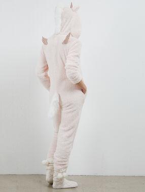 Mono largo unicornio rosa pálido.