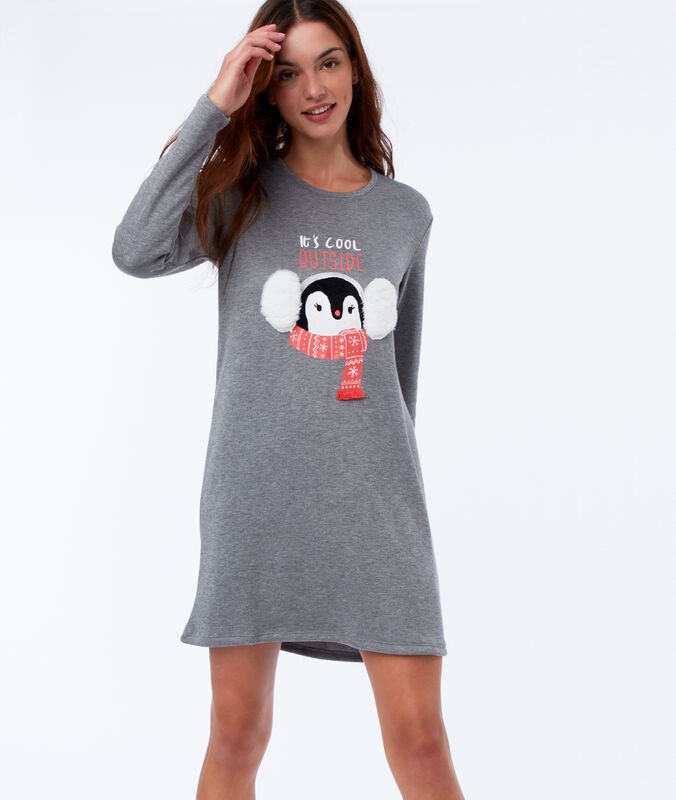 Chemise de nuit homewear avec fausse fourrure anthracite.