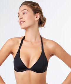 Sujetador bikini tirangular sin aros negro.