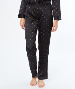 Pantalón estampado abejas negro.
