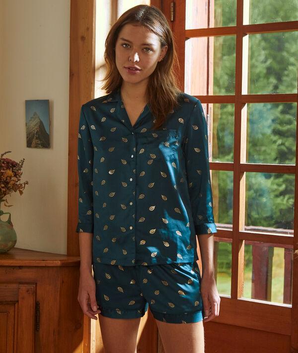 Camisa pijama de satén estampado hojas