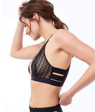 Bralette ajustado encaje con tiras laterales negro.