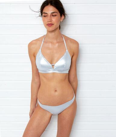 Braguita bikini metalizada plateado.