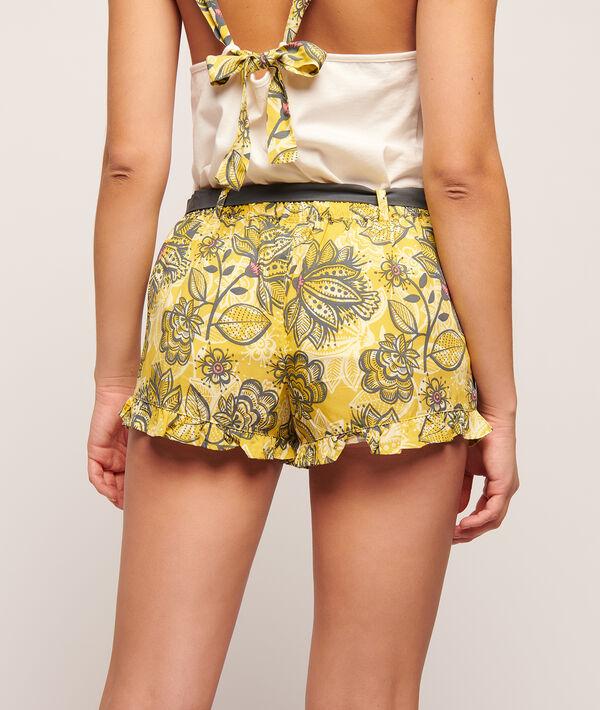 Pantalón corto estampado floral, suaves volantes;${refinementColor}