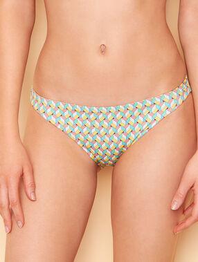 Braguita bikini estampado gráfico amarillo.