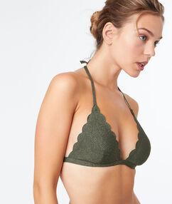 Top bikini triñangulo caqui.