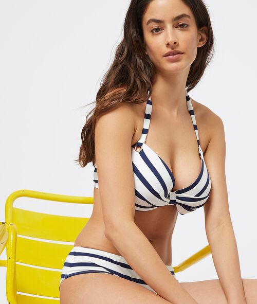 Sujetador bikini con foam estampado de rayas. Copa B-E