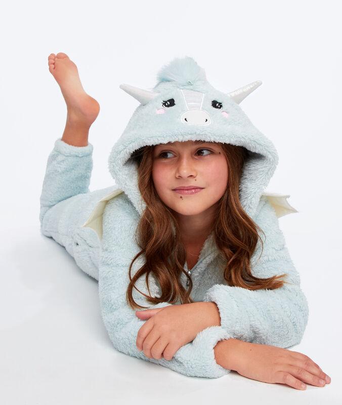 Mono largo dragón para niño azul.