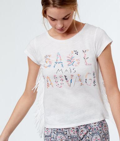 Camiseta manga corta estampada blanco.
