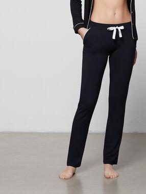 Pantalón holgado bicolor negro.