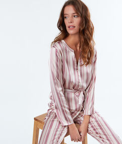 Camisa pijama satinada crudo.