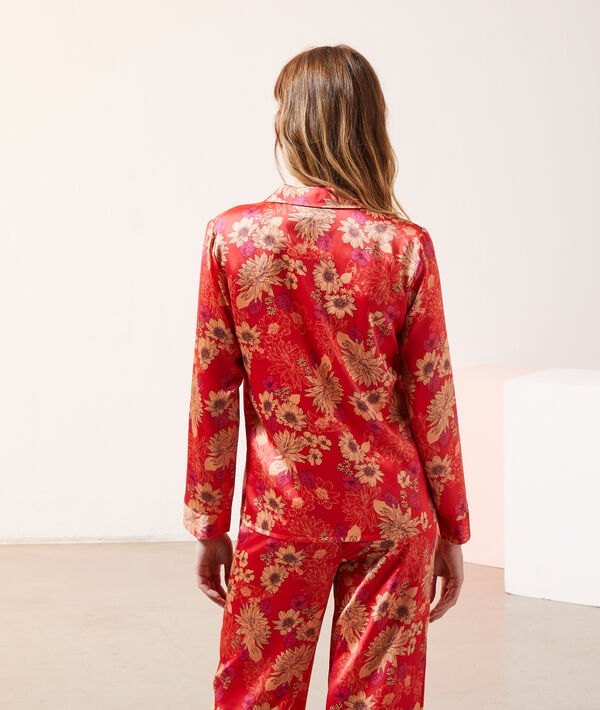 Camisa pijama de satén, estampado floral;${refinementColor}